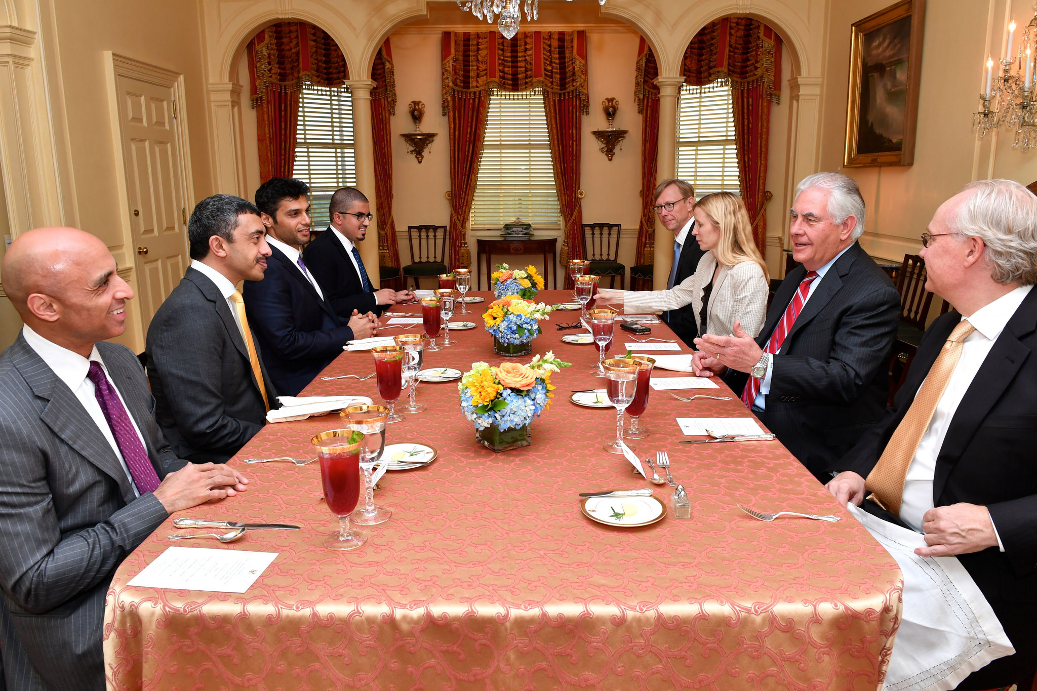 Otaiba and the UAE Foreign Minister Abdullah bin Zayed Al Nahyan at a working dinner with US Secretary of State Rex Tillerson and other officials at the State Department in June 2017 in Washington.