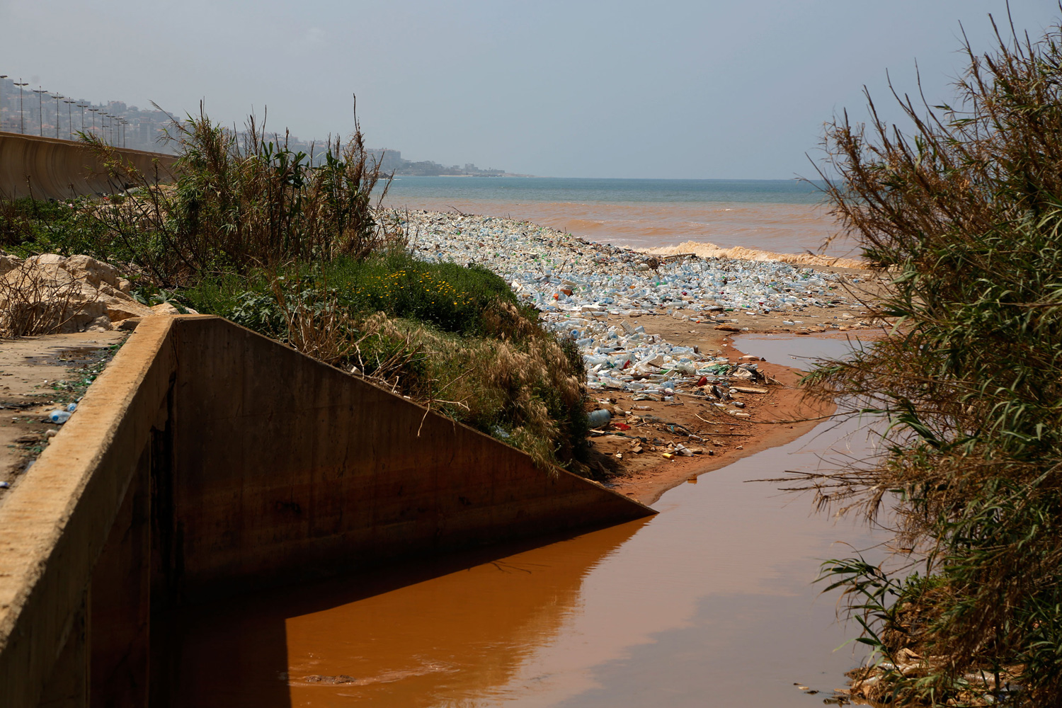 Sewage flows into the sea at Costa Brava.