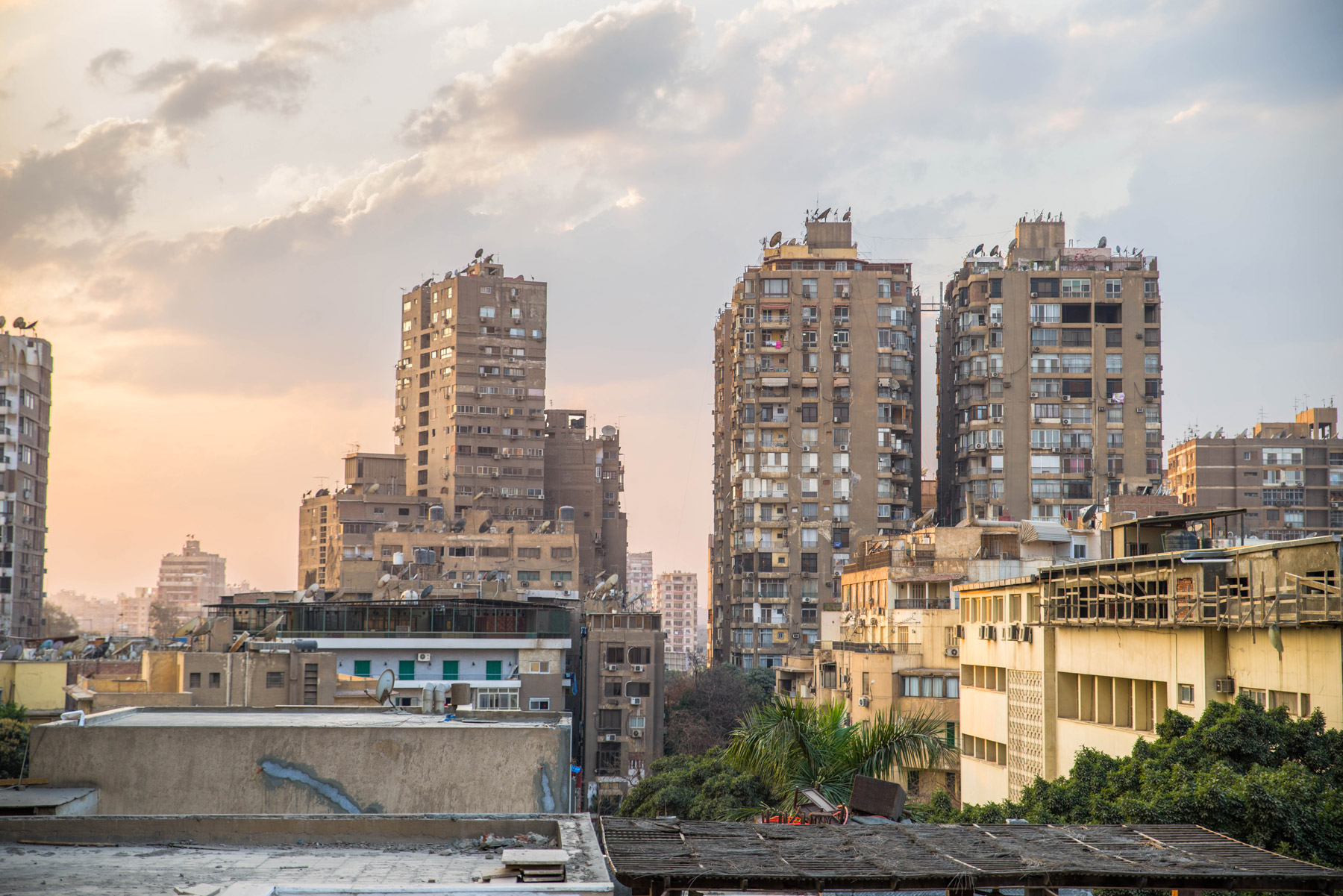 Buildings in Cairo. Many Libyan journalists have left the country, seeking sanctuary in cities such as Cairo or Tunis.