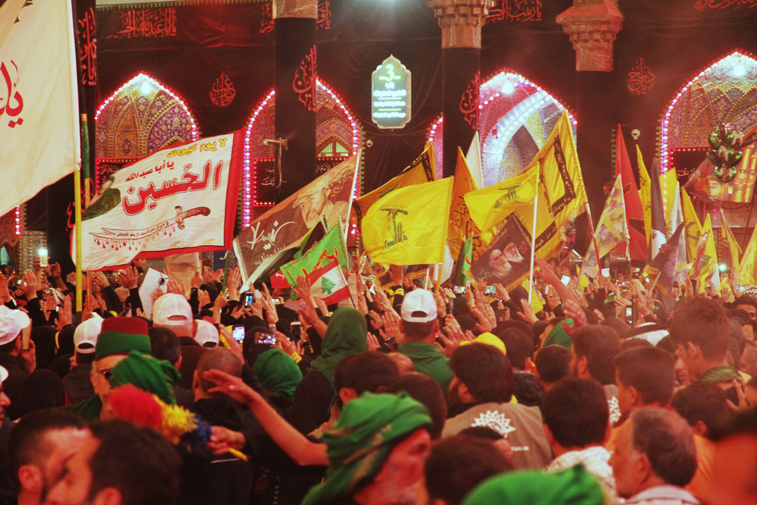 Hezbollah parading during the Arba'een Pilgrimage procession in Kerbelah, Iraq, November 2016.
