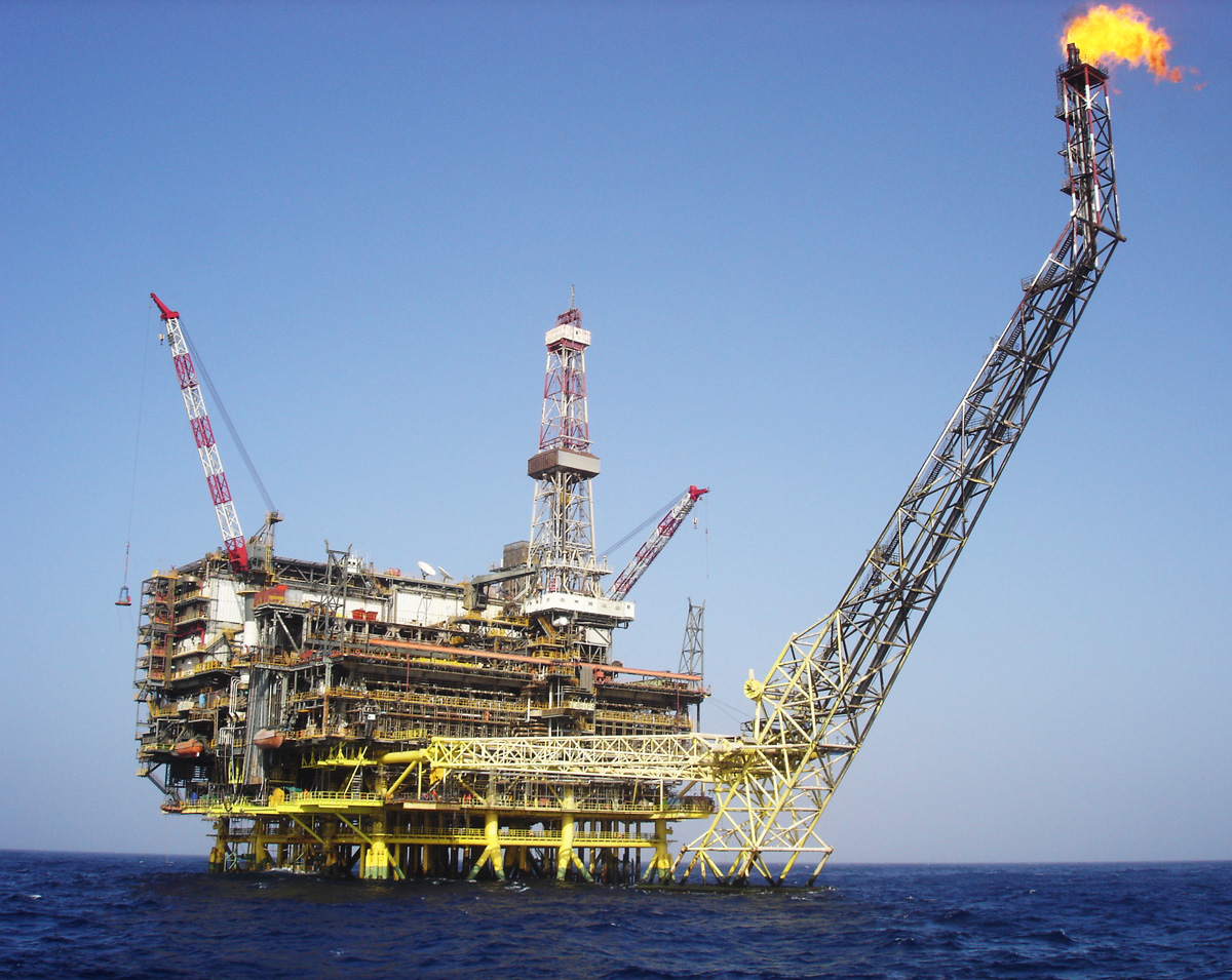 An ENI oil platform in Libyan waters. Only a minority of the country's oil reserves are off-shore, which due to the present conflict are the main focus for international oil companies.