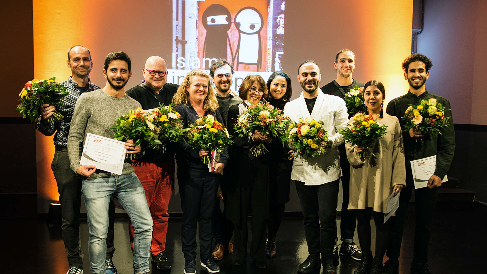 Shortlisted photographers and jury members at the award ceremony 15 November 2017 at the Museum at the Kulturbrauerei in Berlin.