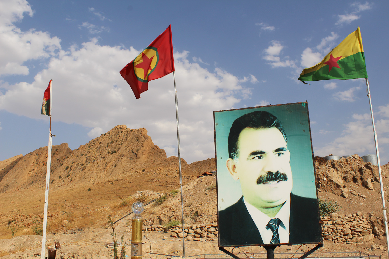 An image of Abdullah Öcalan, one of the founding members of the PKK. Both the PKK and its Syrian offshot the YPG are respected by the Yazidis for breaking the ISIS encirclement of Mount Sinjar in 2014.""