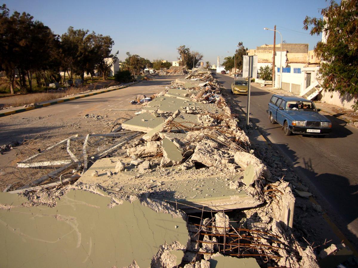 The ruined wall of Bab al-Azizia in Tripoli, once Gaddafi's main military base.