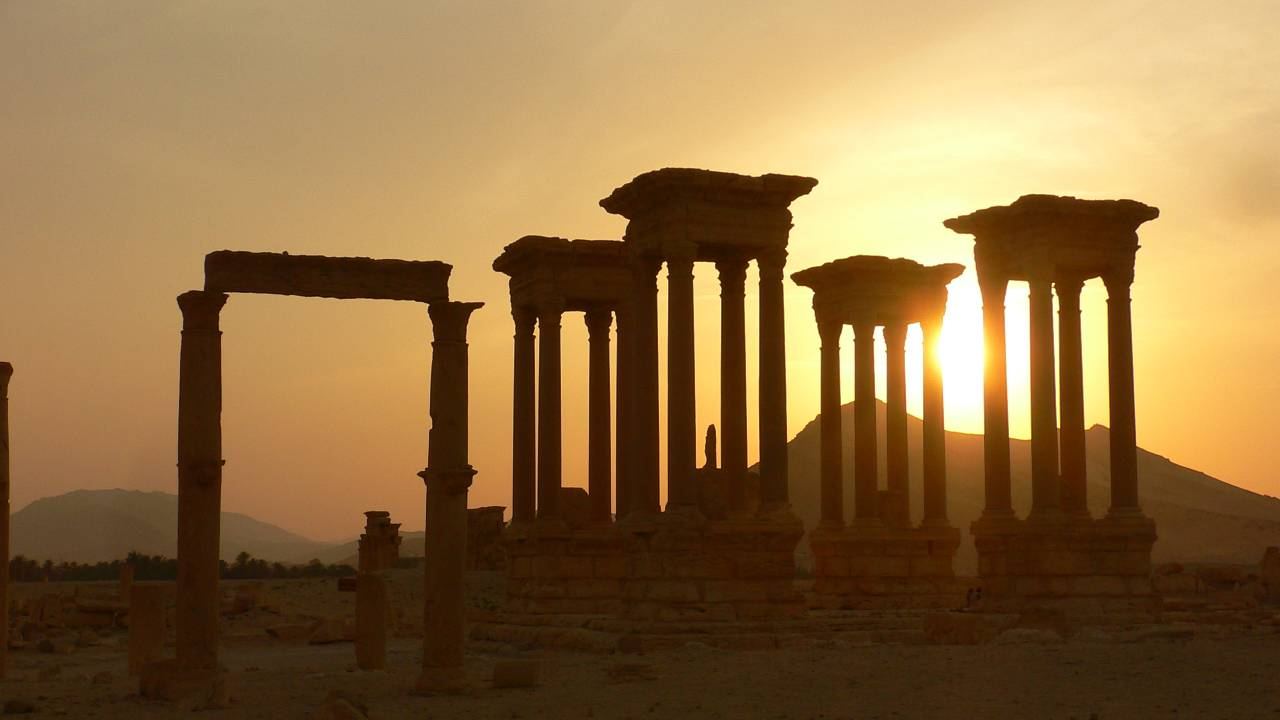 Tadmor's ruins, an ancient marvel in the desert. Many Syrians however have very different memories and associations.