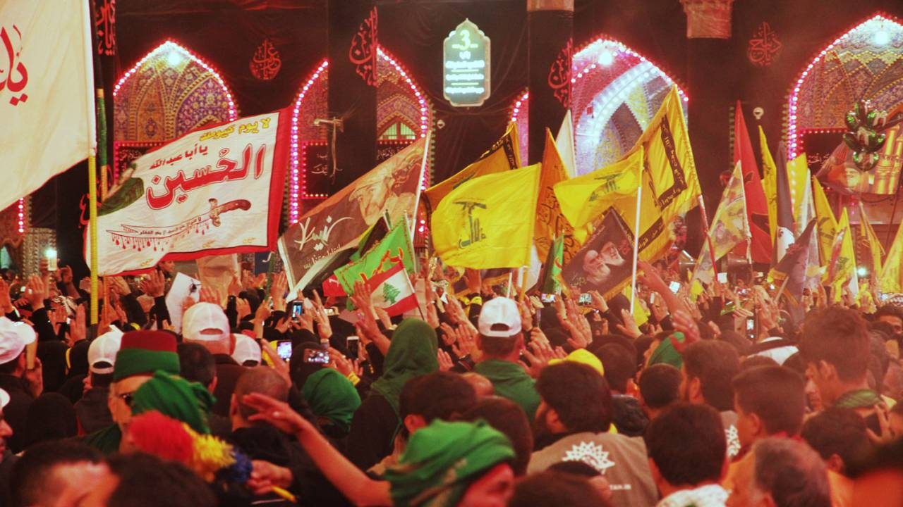 Hezbollah parading during the Arba'een Pilgrimage procession in Kerbelah, Iraq, November 2016.