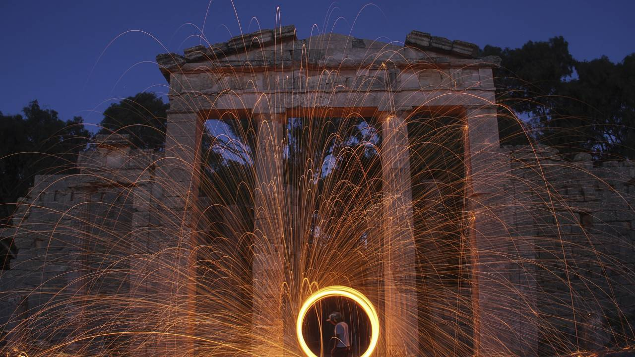 Steel wool art display in front of ancient ruins near Shahhat in northeastern Libya