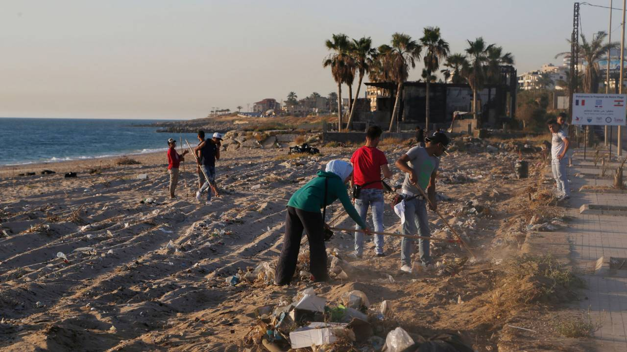 A public beach cleaning