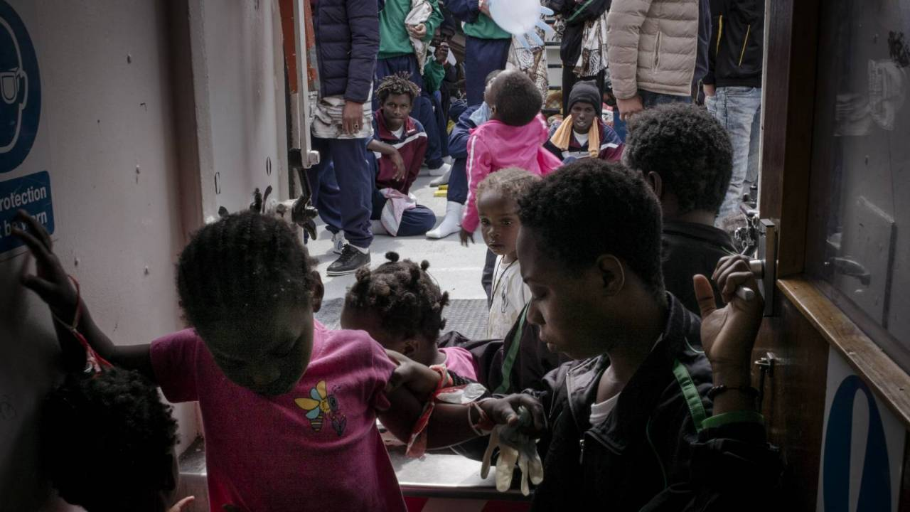 Children aboard the MSF ship Aquarius after being rescued.
