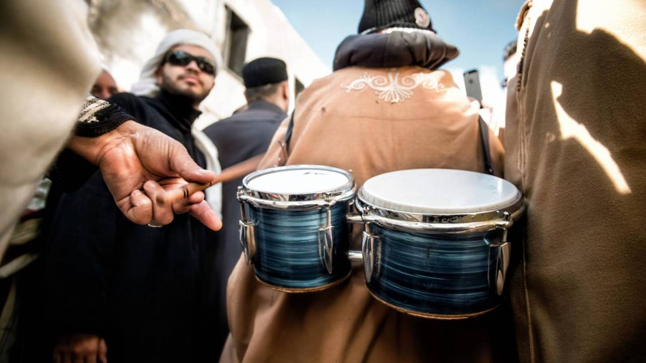 A drummer during a parade for Mawlid. The playing of music and the celebration of the Prophet's birthday is a contentious issue for relations between Sufis and other strands of Muslim.