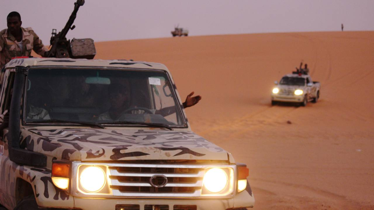 Tourag militiamen in the desert