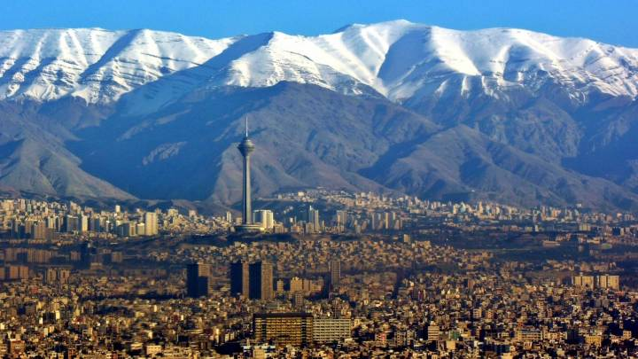 An aerial view over Tehran.