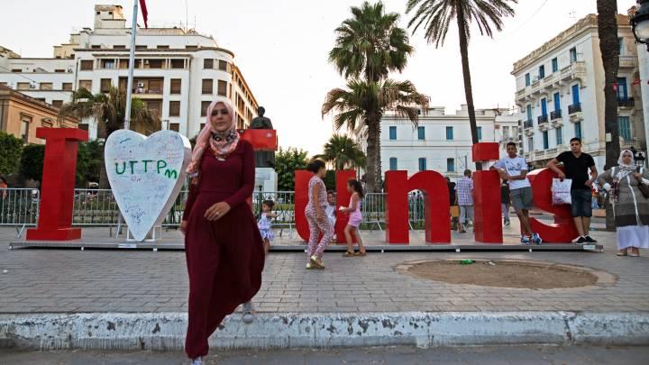Downtown Tunis, the capital of Tunisia.