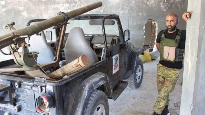 Kämpfer an der Front in Tripolis