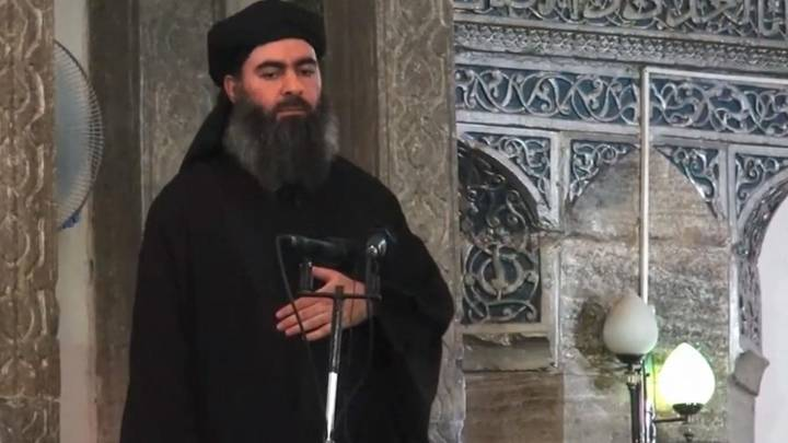 A video still from a speech given by Abu Bakr al-Baghdadi, the leader of ISIL, on July 5, 2014, in his first public appearance as the leader of the militant group, at a mosque in Mosul, Iraq.