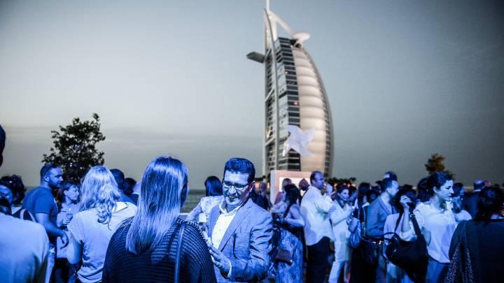 A 2013 reception in front of the Burj Al-Arab.