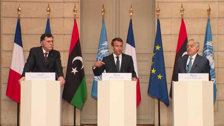 Libyenkrisengipfel Paris: al-Sarradj, Macron, Haftar