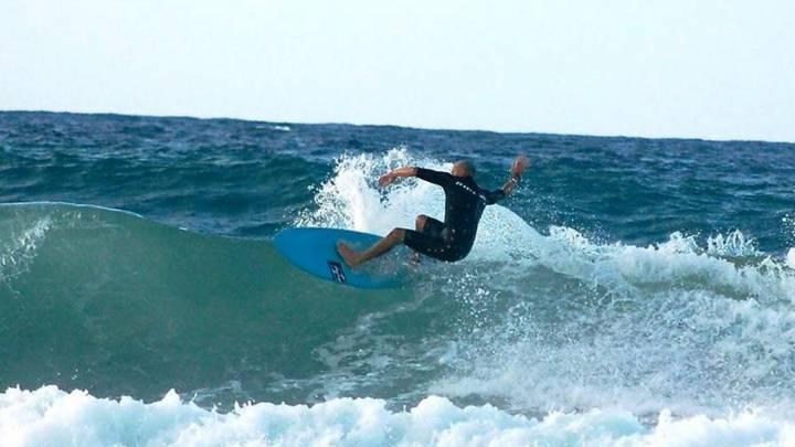 Surfing near the UN compound in Tripoli.