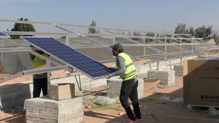 عمال تركيب الألواح الشمسية