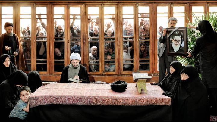 Artwork depicting funeral of Mahmoud Taleghani