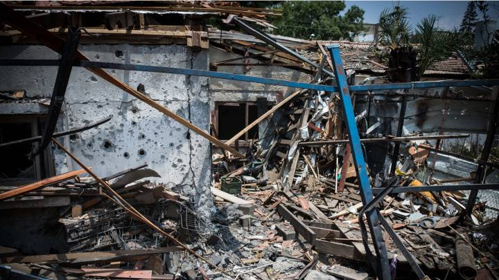A house in Yehud, in central Israel, destroyed by a Hamas-launched rocket in 2014