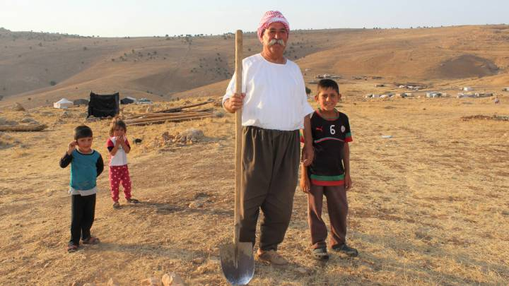 A displaced Yazidi farmer who chose Mount Sinjar over a camp in the autonomous Kurdish region after ISIS stormed his village.