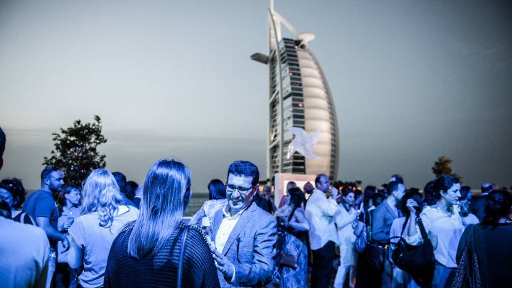 A 2013 reception in front of the Burj Al-Arab.