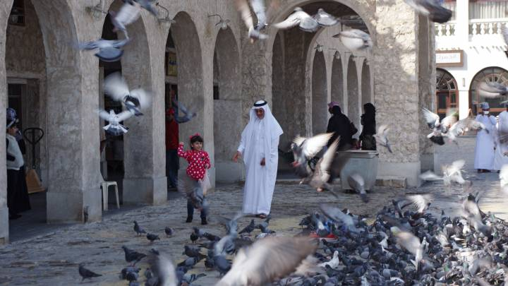 A man and girl feed pigeons in Doha, the capital of Qatar.