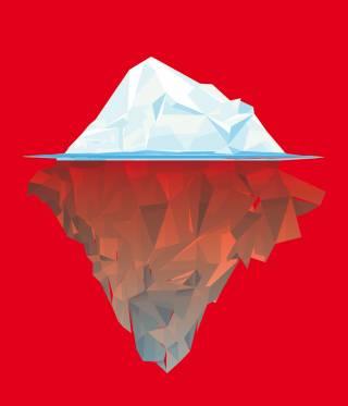 Eisberg, halb unter Wasser auf rotem Hintergrund