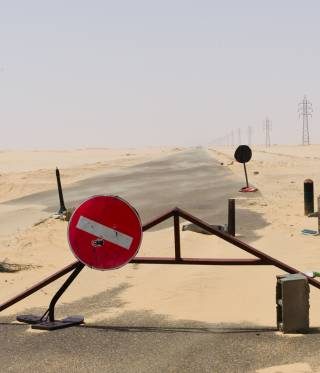 An abandoned checkpoint in Libya.