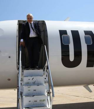 Ghassan Salamé disembarks from the UN plane in Al-Qubbah.