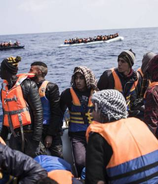 Since the summer of 2016, Libya has become the number one transit country for illegal migration into Europe. Here, a group of migrants who have been rescued by a MSF vessel.