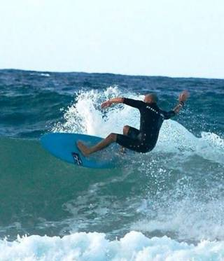 Surfing near the UN compound in Tripoli.